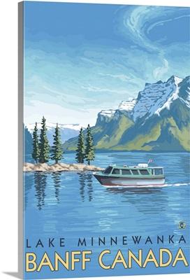 Lake Minnewanka, Banff, Canada: Retro Travel Poster