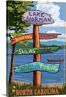 Lake Norman, North Carolina -  Destination Sign: Retro Travel Poster