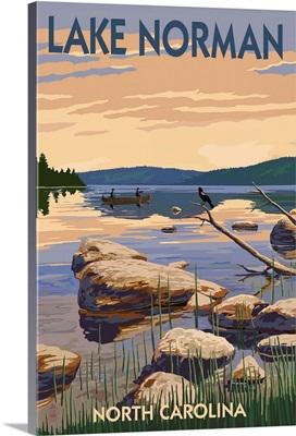 Lake Norman, North Carolina -  Lake Scene and Canoe: Retro Travel Poster