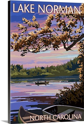 Lake Norman, North Carolina - Lake Scene at Dusk: Retro Travel Poster