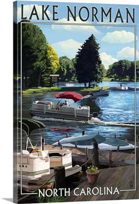 Lake Norman, North Carolina - Pontoon Boats: Retro Travel Poster