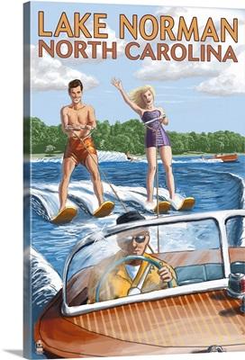Lake Norman, North Carolina - Water Skiing: Retro Travel Poster