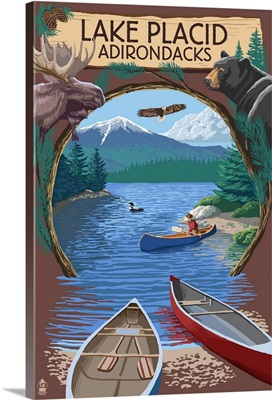 Lake Placid, New York - Adirondacks Canoe Scene: Retro Travel Poster