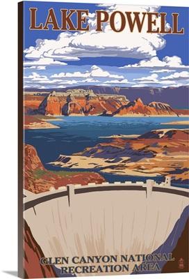 Lake Powell Dam View: Retro Travel Poster