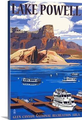 Lake Powell Marina View: Retro Travel Poster