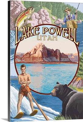 Lake Powell, Utah Views: Retro Travel Poster