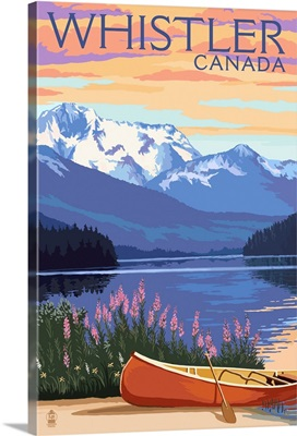 Lake Scene and Canoe - Whistler, Canada: Retro Travel Poster