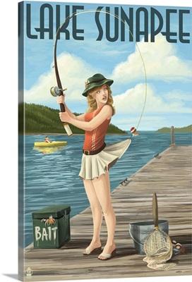Lake Sunapee, New Hampshire - Pinup Girl Fishing: Retro Travel Poster