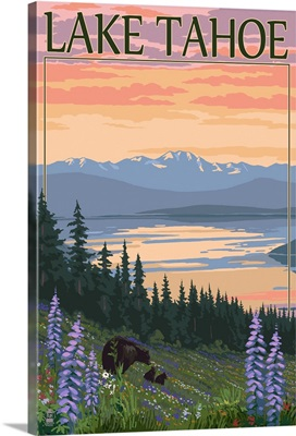 Lake Tahoe - Bear Family and Spring Flowers: Retro Travel Poster
