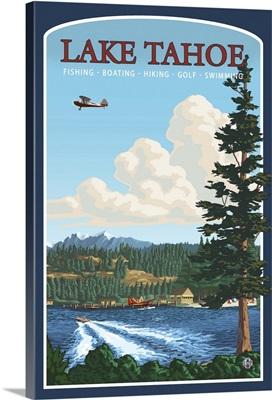 Lake Tahoe, CA: Retro Travel Poster