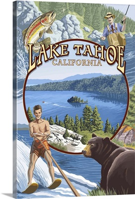 Lake Tahoe, CA Summer Views: Retro Travel Poster