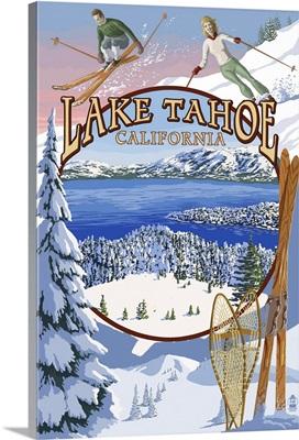 Lake Tahoe, CA Winter Views: Retro Travel Poster