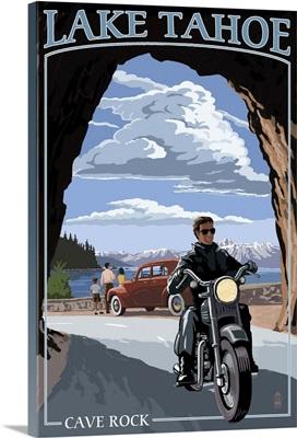 Lake Tahoe, California - Motorcycle Scene: Retro Travel Poster