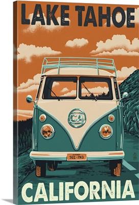 Lake Tahoe, California - VW Van: Retro Travel Poster