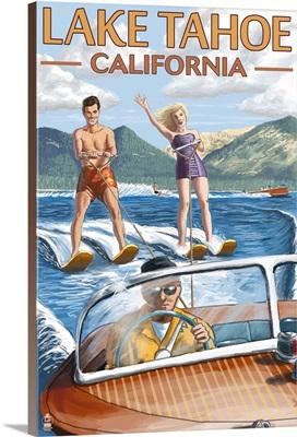 Lake Tahoe, California - Water Skiing Scene: Retro Travel Poster