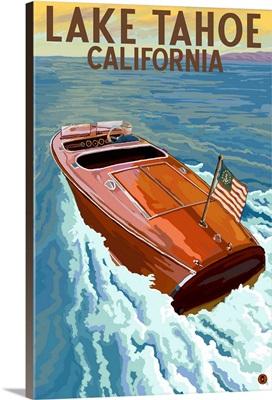 Lake Tahoe, California - Wooden Boat: Retro Travel Poster
