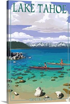 Lake Tahoe - Kayakers in Secret Cove: Retro Travel Poster