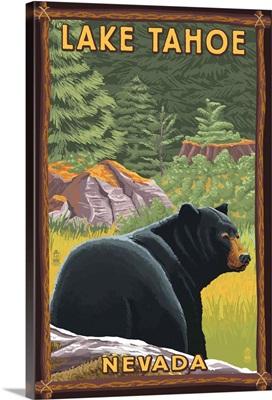 Lake Tahoe, Nevada - Black Bear: Retro Travel Poster