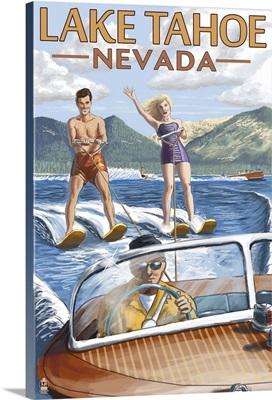 Lake Tahoe, Nevada - Water Skiing Scene : Retro Travel Poster