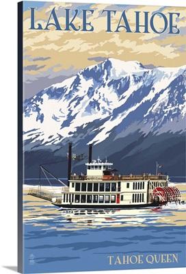 Lake Tahoe - Tahoe Queen Paddleboat: Retro Travel Poster