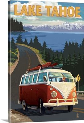 Lake Tahoe - VW Van and Lake: Retro Travel Poster