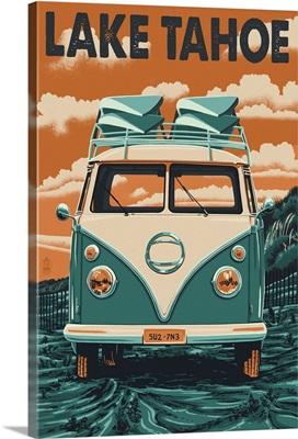 Lake Tahoe - VW Van Letterpress: Retro Travel Poster
