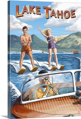 Lake Tahoe - Water Skiing Scene: Retro Travel Poster