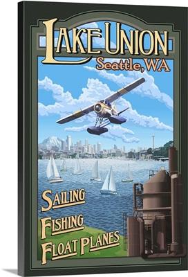 Lake Union - Seattle: Retro Travel Poster