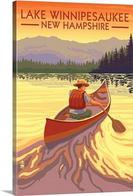 Lake Winnipesaukee, New Hampshire - Canoe Sunset: Retro Travel Poster