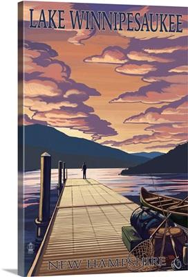 Lake Winnipesaukee, New Hampshire - Dock Scene at Sunset: Retro Travel Poster