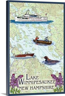 Lake Winnipesaukee, New Hampshire - Lake Chart: Retro Travel Poster