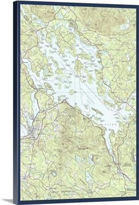 Lake Winnipesaukee, New Hampshire - Map Only: Retro Travel Poster