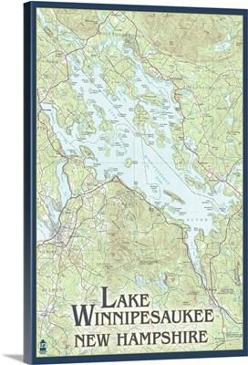 Lake Winnipesaukee, New Hampshire - No Icons: Retro Travel Poster