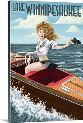 Lake Winnipesaukee, New Hampshire - Pinup Girl Boating: Retro Travel Poster