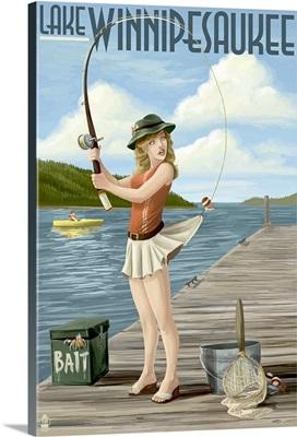 Lake Winnipesaukee, New Hampshire - Pinup Girl Fishing: Retro Travel Poster