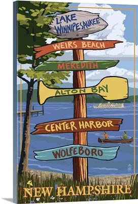 Lake Winnipesaukee, New Hampshire - Signpost Destinations: Retro Travel Poster