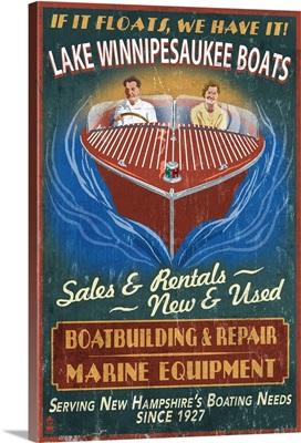 Lake Winnipesaukee, New Hampshire - Vintage Boat Sign: Retro Travel Poster