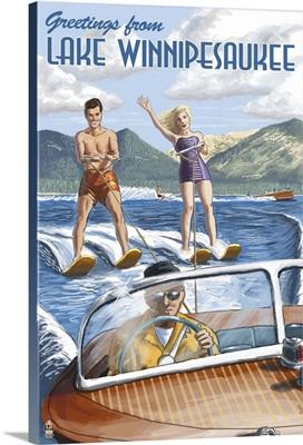 Lake Winnipesaukee, New Hampshire - Water Skiing Scene: Retro Travel Poster