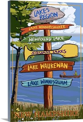 Lakes Region, New Hampshire - Destination Sign: Retro Travel Poster