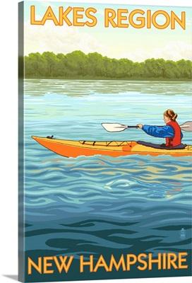 Lakes Region, New Hampshire - Kayak Scene: Retro Travel Poster