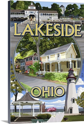 Lakeside, Ohio - Montage Scenes Retro Travel Poster
