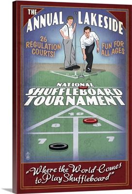 Lakeside, Ohio - Shuffleboard Tournament Vintage Sign: Retro Travel Poster