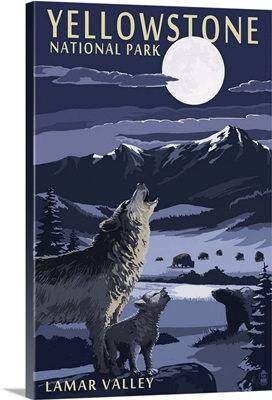 Lamar Valley Scene, Yellowstone National Park: Retro Travel Poster