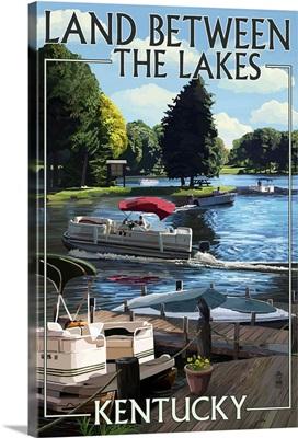 Land Between the Lakes, Kentucky - Pontoon Boats : Retro Travel Poster