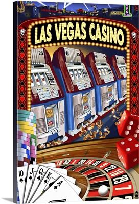 Las Vegas Casino Montage: Retro Travel Poster