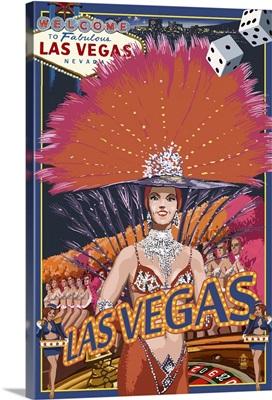 Las Vegas Casino Showgirl: Retro Travel Poster