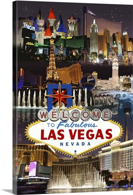 Las Vegas Casinos and Hotels Montage: Retro Travel Poster