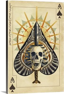 Las Vegas, Nevada - Ace of Spades: Retro Travel Poster