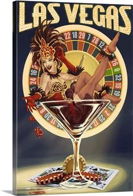 Las Vegas, Nevada - Casino Pinup Girl: Retro Travel Poster