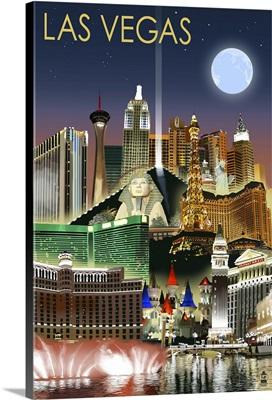 Las Vegas, Nevada - Las Vegas at Night: Retro Travel Poster